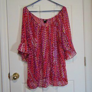 Rock Sheer Print Bell Sleeve Blouse XL